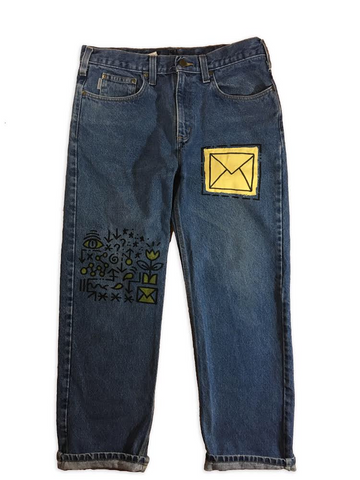 Hand Drawn & Cut Sew Denim Jeans