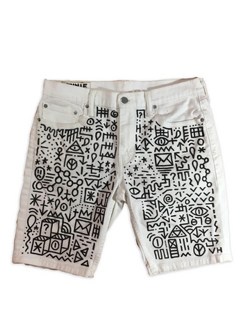 Hand Drawn Denim Shorts