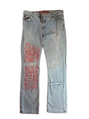Hand Drawn Denim Jeans