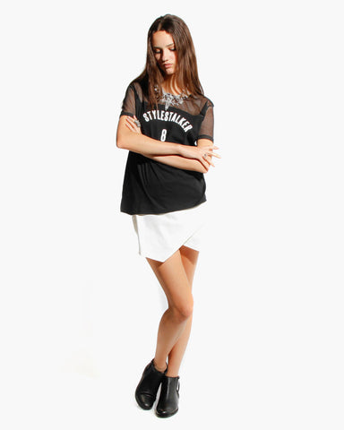 Women's Basketball Mesh No. 8 Tee (Black)