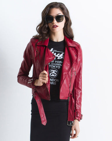 Elizabeth Vegan Leather Moto Jacket (Red)