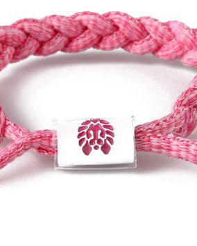 Big League Mini Braided Shoelace Bracelet (Pink/White)