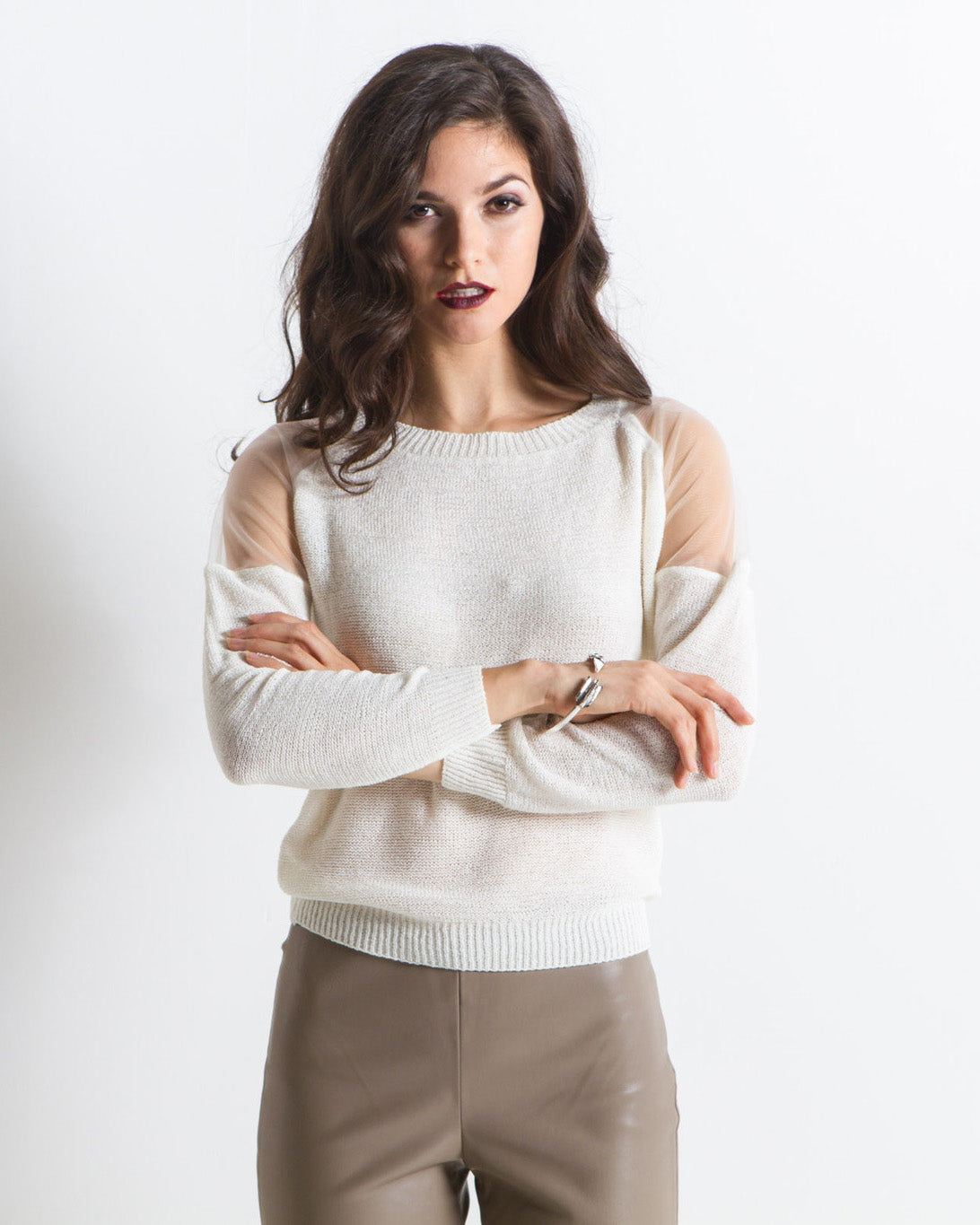 Caroline Mesh Cut Out Shoulders Sweater (White)