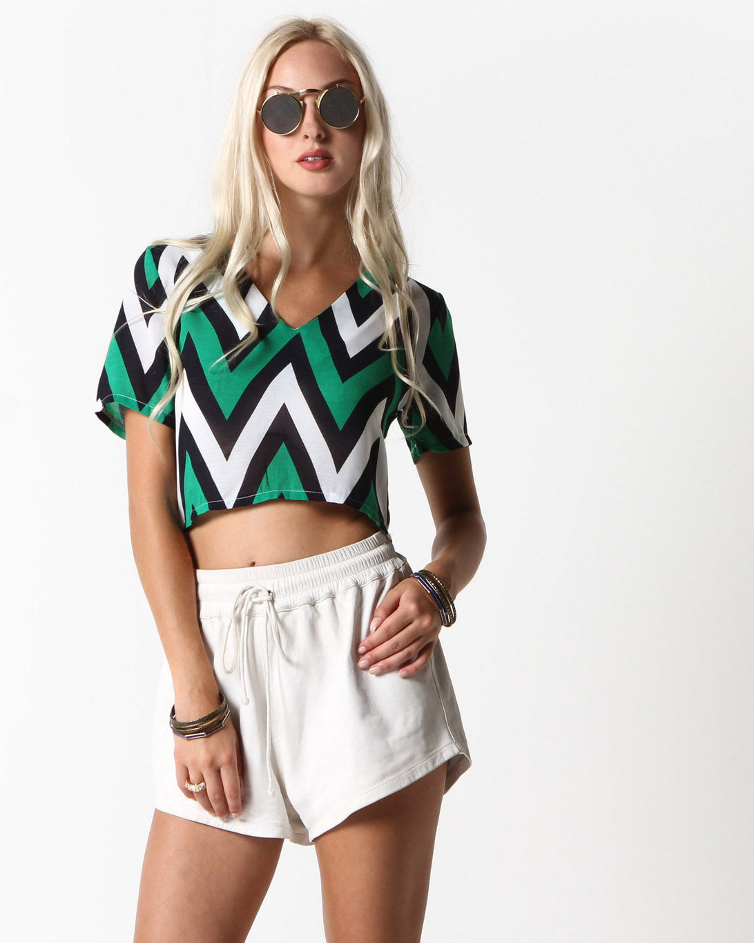 Dakota Zig Zag Crop Top (Green Multi)