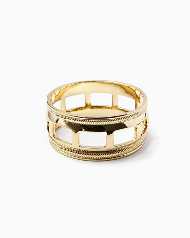 Cuff Bangle with Chain Detailing (Gold)