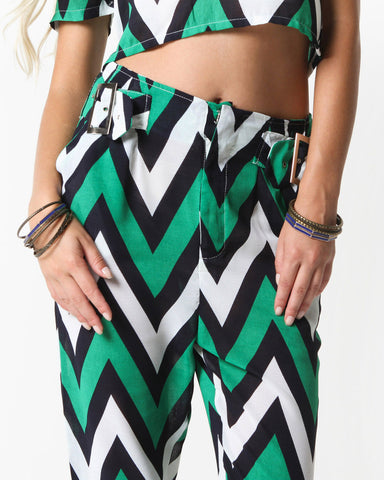 Dakota Zig Zag Pants (Green Multi)