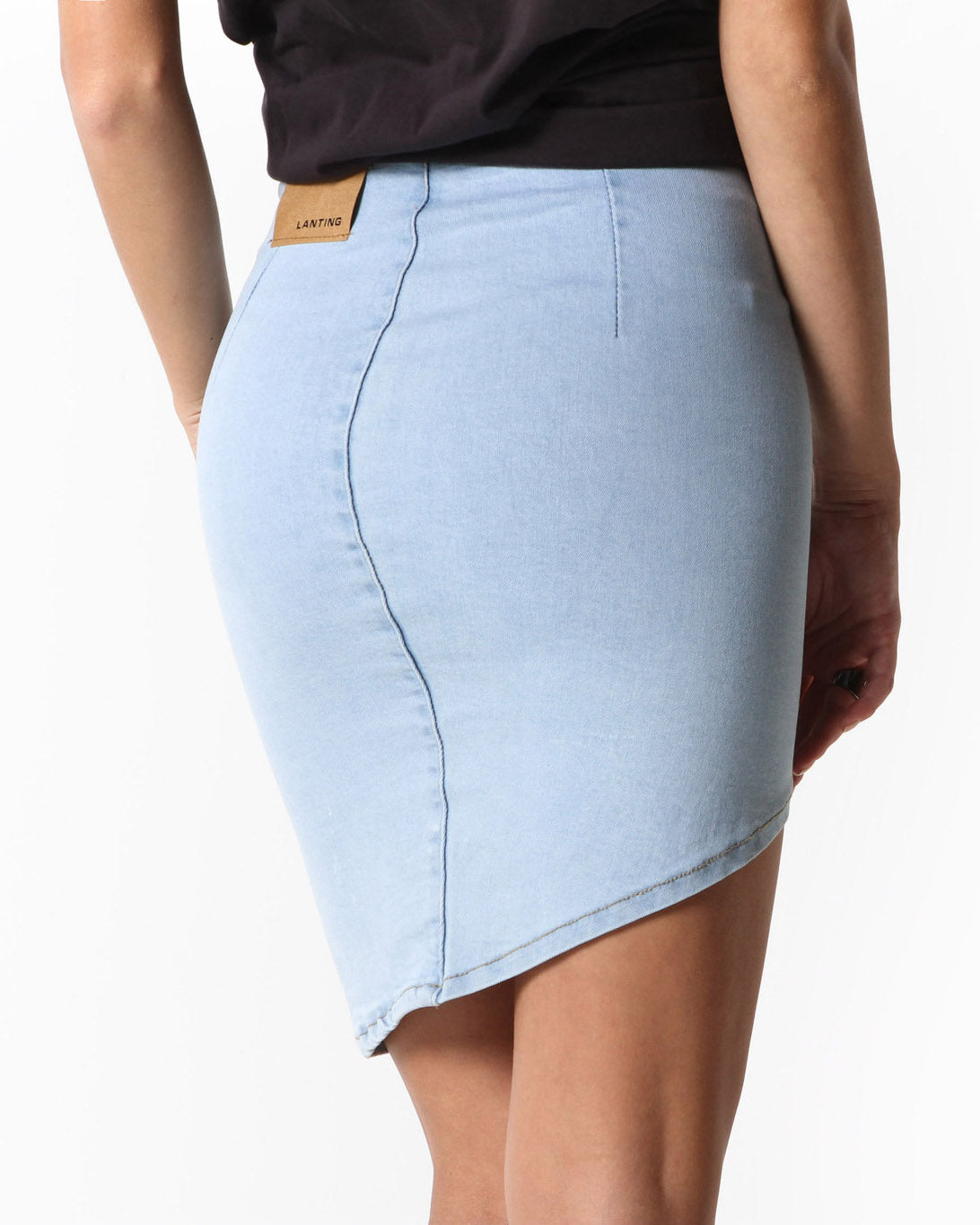 Enola Criss Cut Stretch Denim Skirt (Light Blue)