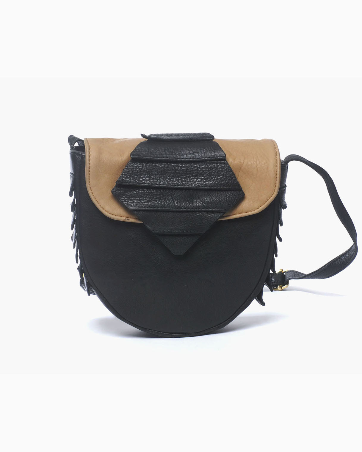 Cora Leather Bag (Black/Taupe)