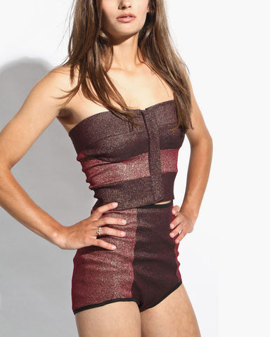 Women's Bustier Top (Red Metallic)