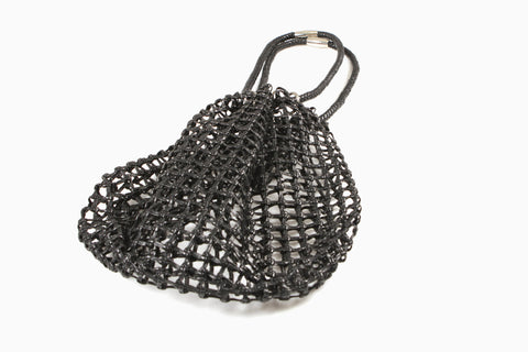 Eliza Open Net Leather Bag (Black)