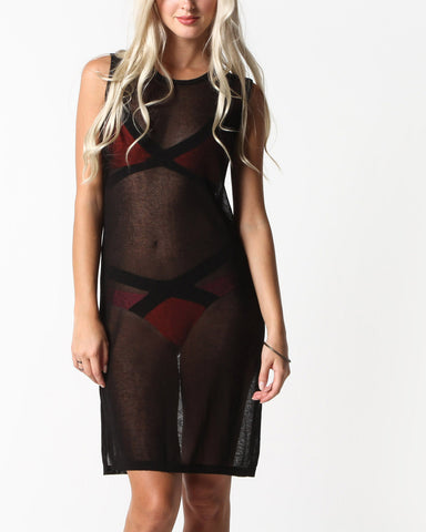 Ayasha Sheer Muscle Dress (Black)