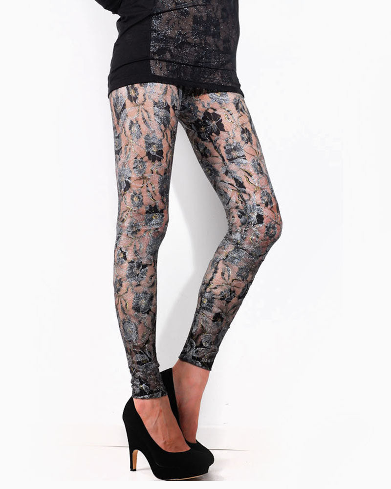 Women's Lace Leggings (Black/Silver)