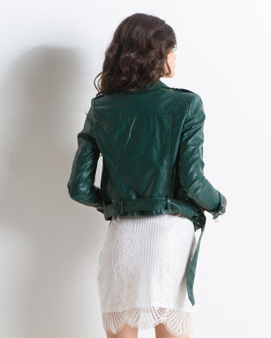 Elizabeth Vegan Leather Moto Jacket (Green)