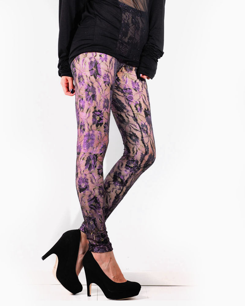Women's Lace Leggings (Fuschia)