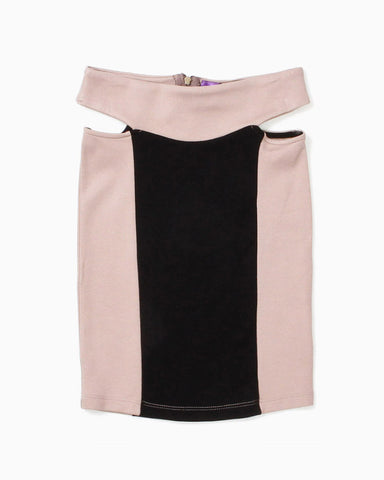 Women's Cut Out Sitted Mini Skirt (Black/Nude)