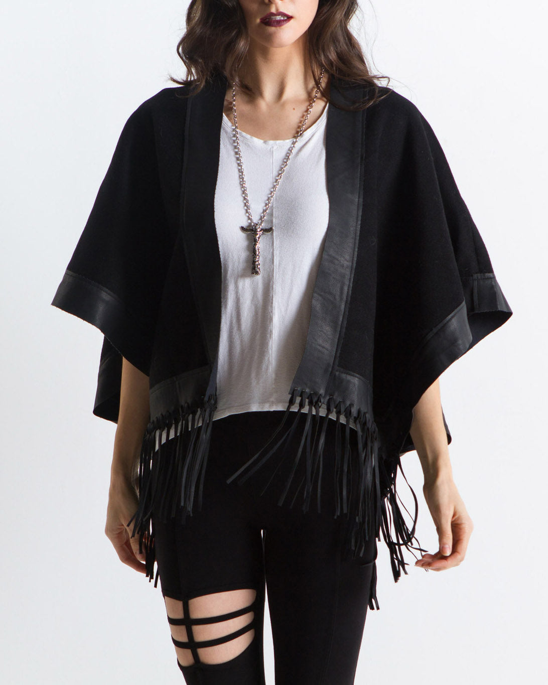 Finn Fringe Mix Leather Poncho (Black)