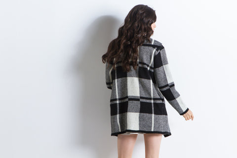 Oversized Flannel Knit Sweater Coat