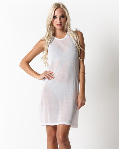 Ayasha Sheer Muscle Dress (White)