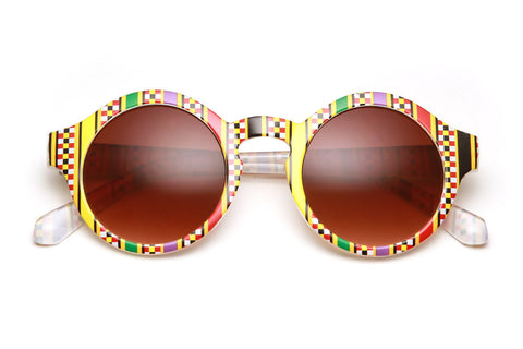 Aztec Printed Rounded Wayfarer Sunglasses