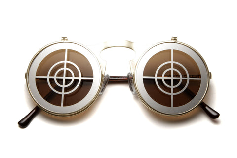 Bena Bullseye Round Flip Up Metal Framed Sunglasses