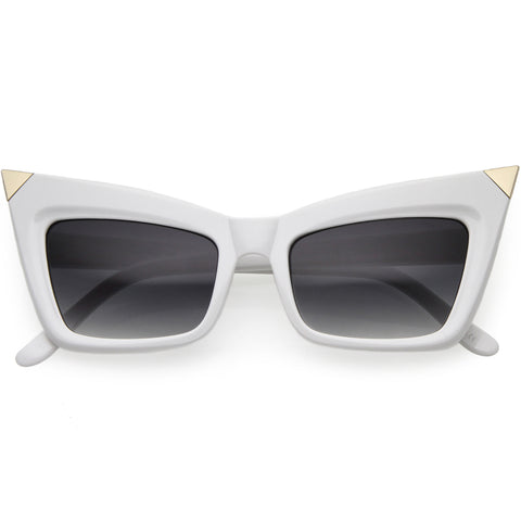 Sharp High-Pointed Metal Tip Designer-Inspired Fashion Cat Eye Sunglasses 52mm
