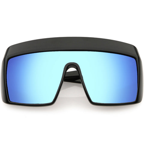 Futuristic Oversize Extended Side Temple Mirrored Lens Sport Shield Sunglasses 68mm