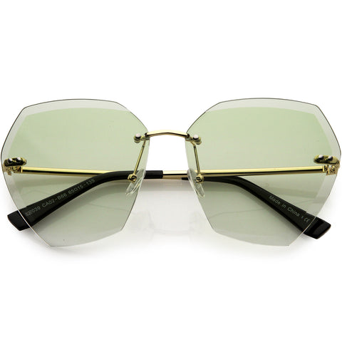 Oversize Rimless Beveled Gradient Lens Geometric Sunglasses 70mm