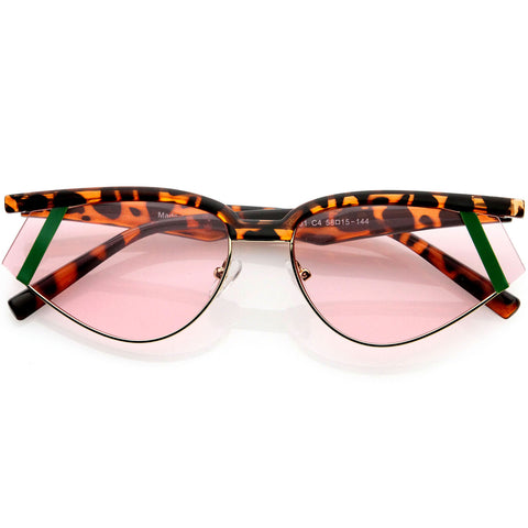 Fashion Forward Geometric Color Temple Detail Browline Cat Eye Sunglasses 65mm