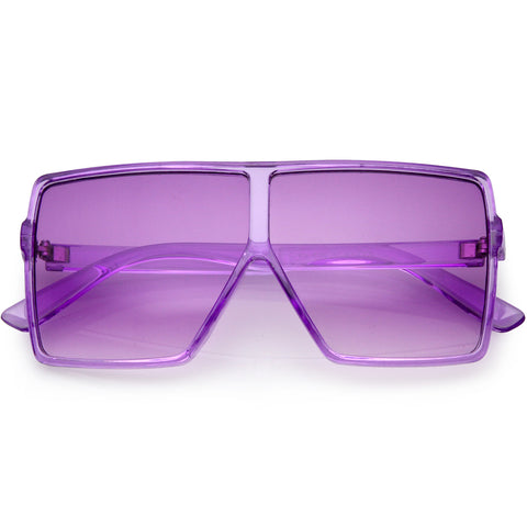 Kids Translucent Flat Top Square Colored Tinted Lens Small Oversize Sunglasses 55mm