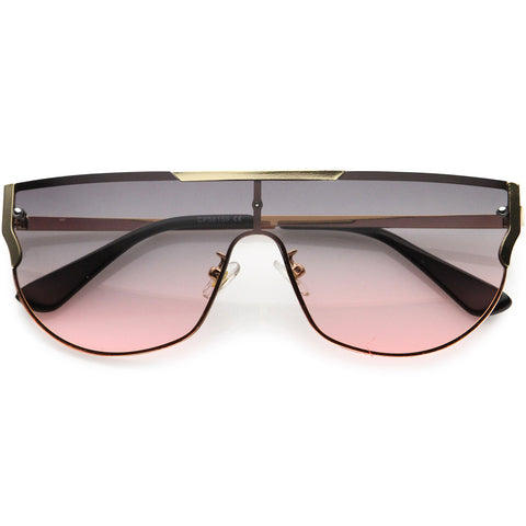Posh Designer-Inspired Metal Trim Detail Flat Top Shield Sunglasses 67mm
