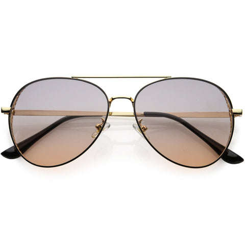 High Fashion Laser Cut Metal Detail Side Cover Aviator Sunglasses 59mm