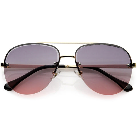 Royal Oversize Semi-Rimless Bevelled Lens Square Aviator Sunglasses 62mm