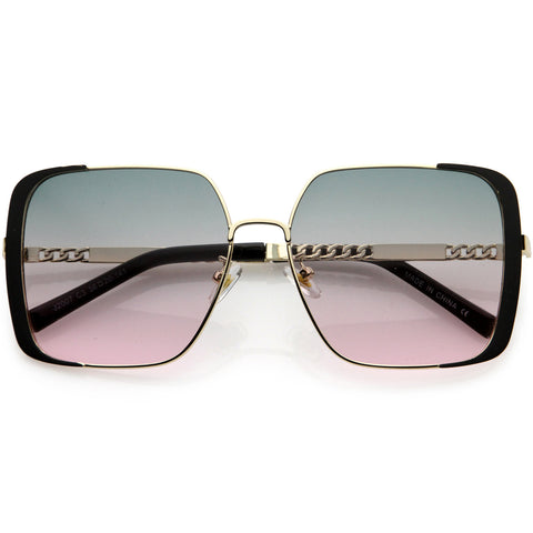 Glamorous Oversize Retro Embellished Frame Square Sunglasses 58mm
