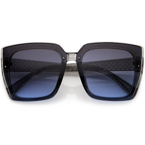 Glamorous Designer-Inspired Argyle Embossed Arms Oversized Square Sunglasses 63mm