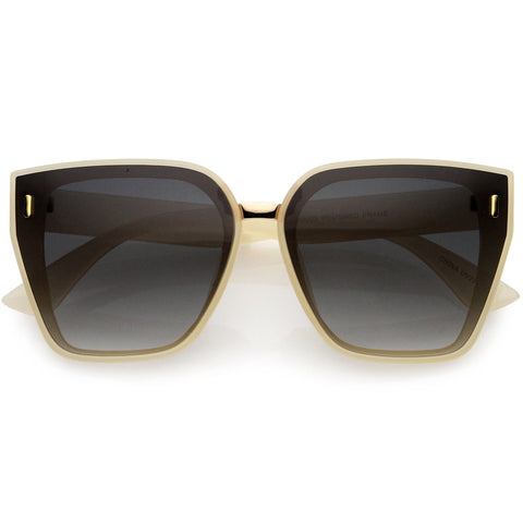 Posh Oversize Two-Tone Metal Nose Bridge Temple Rivet Accent Cat Eye Sunglasses 57mm