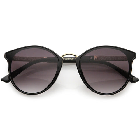 Flirty Two-Tone Glitter Arms Accent Chic Cat Eye P3 Round Sunglasses 50mm