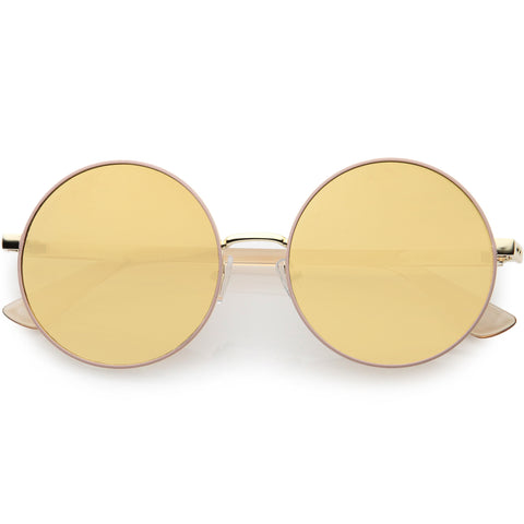 Posh Two-Tone Metal Side Cover Cut Out Round Sunglasses 56mm
