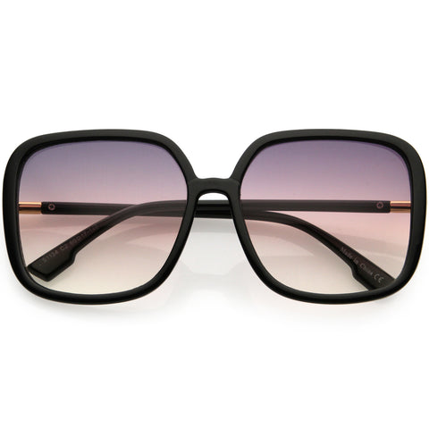 Oversize Elegant Inspired Lightweight Neutral Gradient Lens Women's Square Sunglasses 59mm
