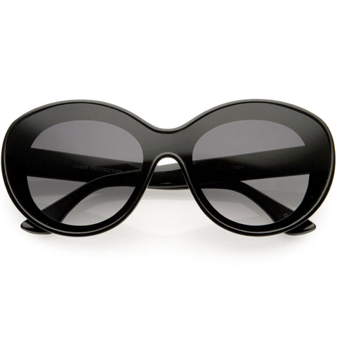 Elegant Oversize Retro Shield Neutral Colored Lens Oval Sunglasses 75mm