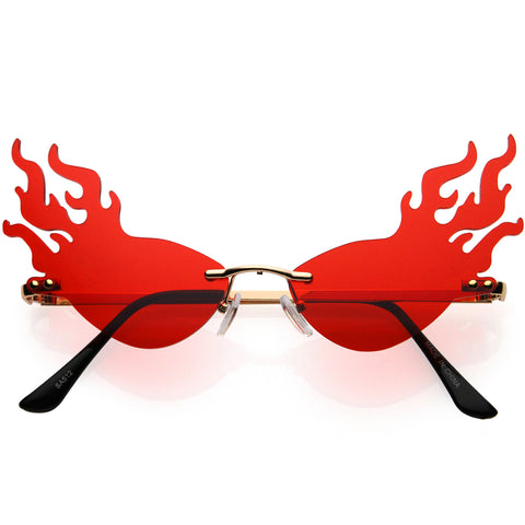 Flaming Fire Color Tinted Lens Oval Rimless Flames Sunglasses 55mm