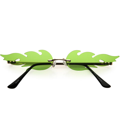Bold Fire Flaming Shape Color Tinted Lens Rimless Flames Sunglasses 68mm