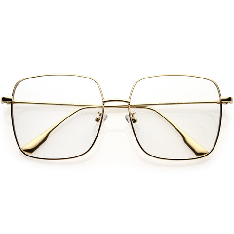 Retro Modern Blue Light Filtering Thin Metal Arms Square Glasses 58mm