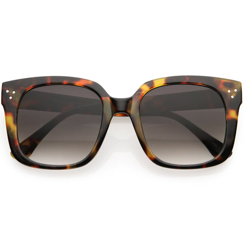 Posh Oversize Neutral Colored Lens Square Horn Rimmed Sunglasses 55mm