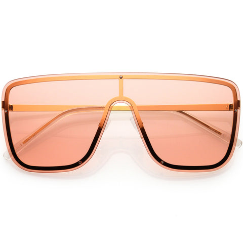 Sleek Oversize Full Rimless Flat Top Square Shield Sunglasses 78mm