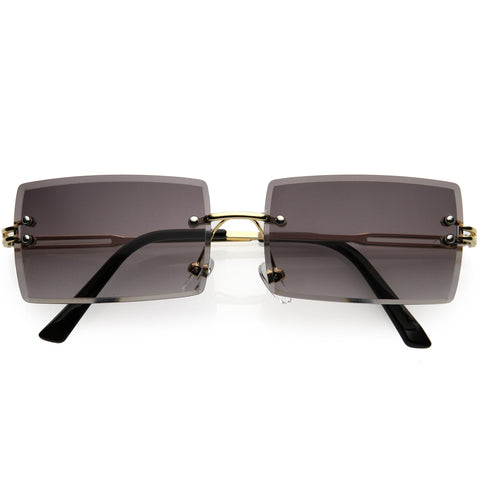 Luxe 90s Inspired Full Rimless Metal Accent Medium Square Sunglasses 57mm