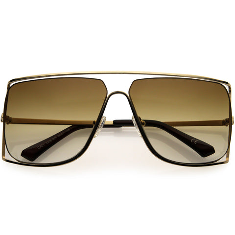Sleek Oversize Flat Top Gradient Lens Cut-Out Square Sunglasses 50mm