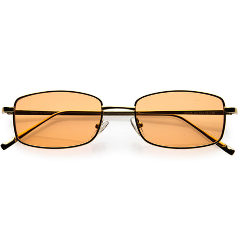 Slim 90s Inspired Color Tinted Lens Metal Square Sunglasses 51mm