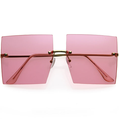 Luxe Rimless Studded Accent Oversize Square Sunglasses 61mm