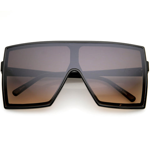 High Fashion Neutral Colored Lens Flat Top Square Sunglasses 72mm
