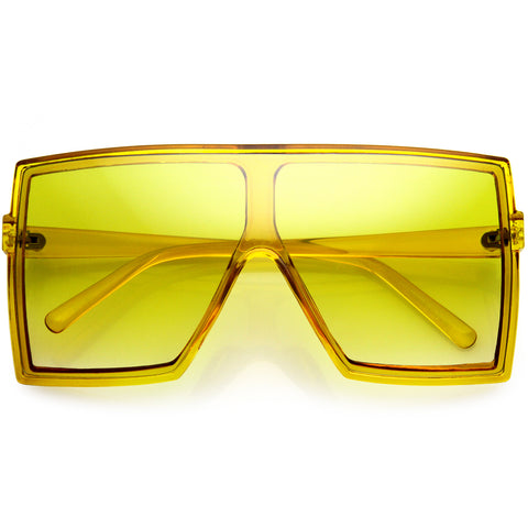 High Fashion Color Tinted Gradient Lens Flat Top Square Sunglasses 72mm